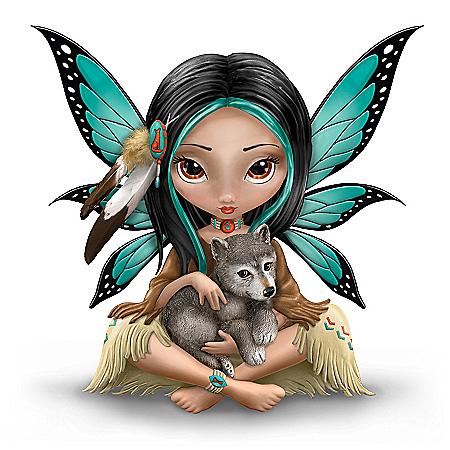 Moonheart, The Spirit Of Strength Wolf And Fairy Fantasy Art Figurine
