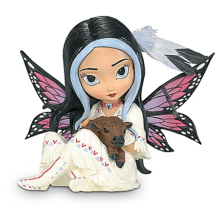 Jasmine Becket Griffith Fairy Figurine with Real Feathers and Bison Friend