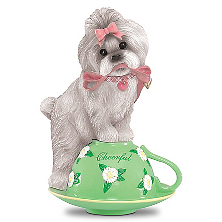 Tea-lightfully Cheerful Handcrafted Shih Tzu Figurine
