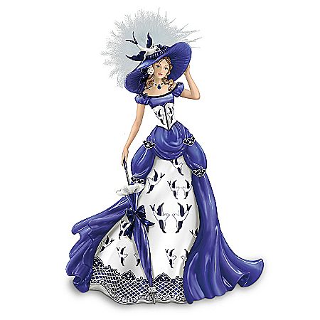 Blue Willow China Pattern-Inspired Lady Figurine: Rowena