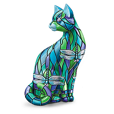 "The ""Dragonfly"" Stained-Glass Cat Figurine"