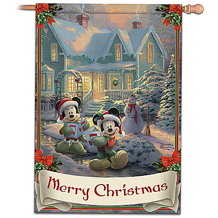 "Christmas Decoration Disney's Mickey & Minnie ""Merry Christmas"" Decorative Flag With Thomas Kinkade Artwork"
