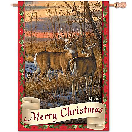 Merry Christmas Wildlife Art Flag