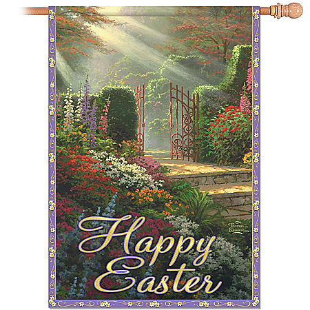 Outdoor Flag: Thomas Kinkade Happy Easter Flag