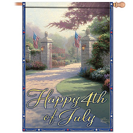 Artistic Thomas Kinkade Flag: Happy 4th Of July