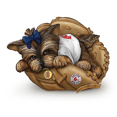 MLB Boston Red Sox Yorkie Figurine: Fur-ever A Fan