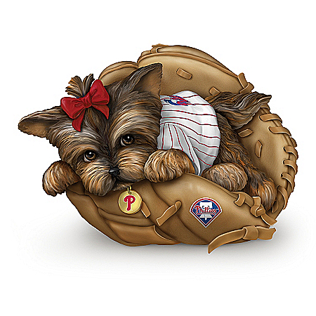 MLB Philadelphia Phillies Yorkie Figurine: Fur-ever A Fan
