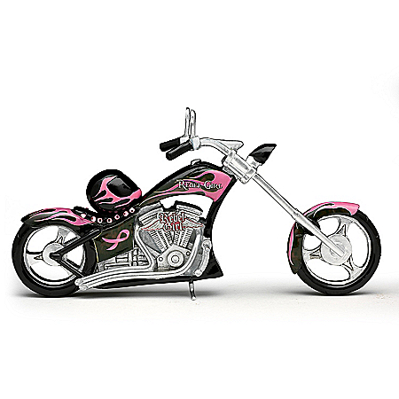 Fueled Up With Faith Breast Cancer Awareness Motorcycle Figurine