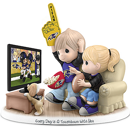 NFL-Licensed Baltimore Ravens Fan Precious Moments Porcelain Figurine