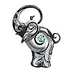 Figurine - Blake Jensen Legendary Luck Black Elephant Emerald-Green Swarovski Figurine