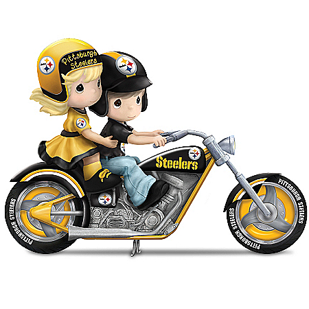 Precious Moments Collectibles Figurine: Precious Moments Gearing Up For A Season Pittsburgh Steelers Motorcycle Figurine