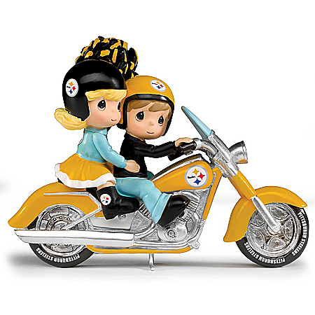 Precious Moments Rollin' Through The Red Zone NFL Pittsburgh Steelers Motorcycle Figurine