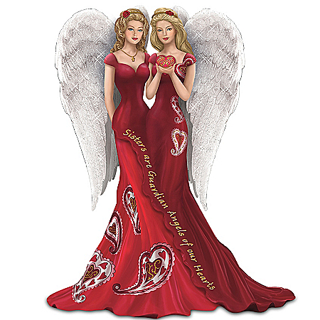 Figurine: Thomas Kinkade Sisters Are Guardian Angels Of Our Hearts Figurine