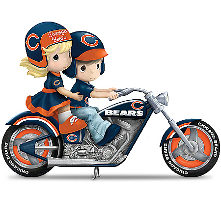Figurine: Precious Moments Gearing Up For A Season Chicago Bears Motorcycle Figurine