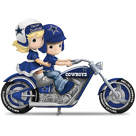 Figurine: Precious Moments Gearing Up For A Season Dallas Cowboys Motorcycle Figurine