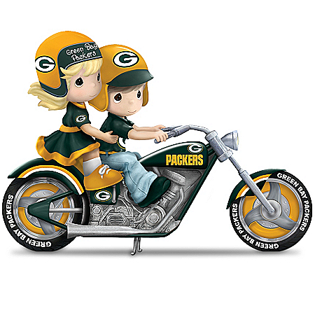 Figurine: Precious Moments Gearing Up For A Season Green Bay Packers Motorcycle Figurine