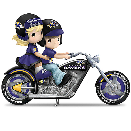 Figurine: Precious Moments Gearing Up For A Season Baltimore Ravens Motorcycle Figurine
