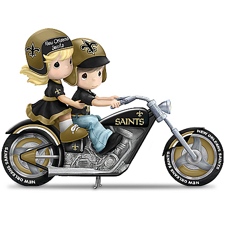 Figurine: Precious Moments Gearing Up For A Season New Orleans Saints Motorcycle Figurine