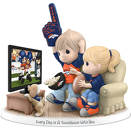NFL-Licensed Denver Broncos Fan Precious Moments Porcelain Figurine