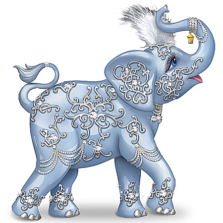 Thomas Kinkade Dazzling Delight: Collectible Elephant Figurine With Swarovski Crystal