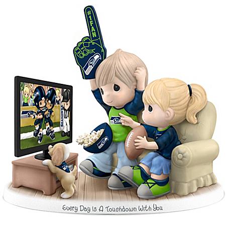 NFL-Licensed Seattle Seahawks Fan Precious Moments Porcelain Figurine