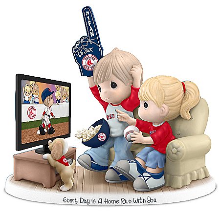 Precious Moments Collectibles Figurine: Precious Moments Every Day Is A Home Run With You Boston Red Sox Figurine
