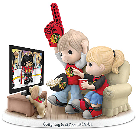 Precious Moments Collectibles Figurine: Precious Moments Every Day Is A Goal With You Blackhawks® Figurine
