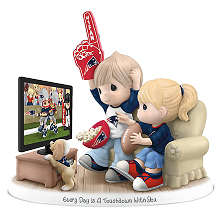 NFL-Licensed New England Patriots Fan Precious Moments Porcelain Figurine