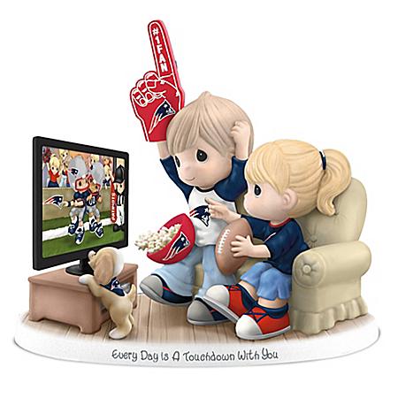 NFL-Licensed New England Patriots Fan Precious Moments Porcelain Figurine
