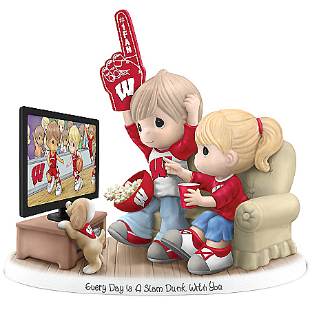 Officially-Licensed Wisconsin Badgers Fan Precious Moments Porcelain Figurine