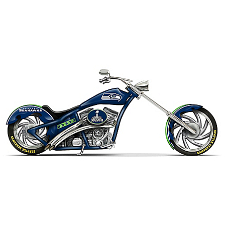 Officially Licensed Seattle Seahawks Cruiser Motorcycle Figurine