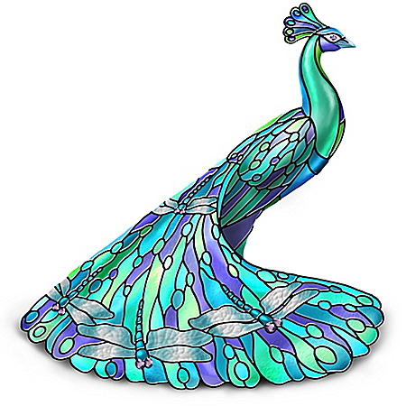 Delightful Dragonfly: Louis Comfort Tiffany-Style Stained Glass Peacock Figurine