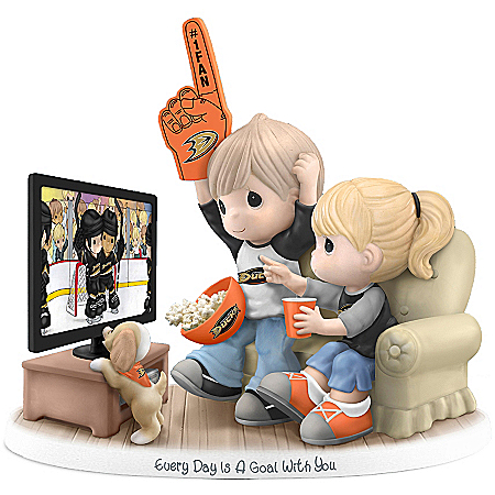 Precious Moments Collectibles Figurine: Precious Moments Every Day Is A Goal With You Anaheim Ducks® Figurine