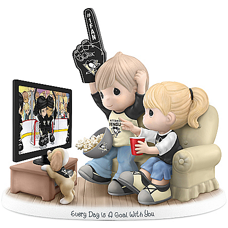 Officially-Licensed Pittsburgh Penguins Fan Precious Moments Porcelain Figurine