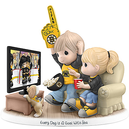Precious Moments Collectibles Figurine: Precious Moments Every Day Is A Goal With You Boston Bruins® Figurine