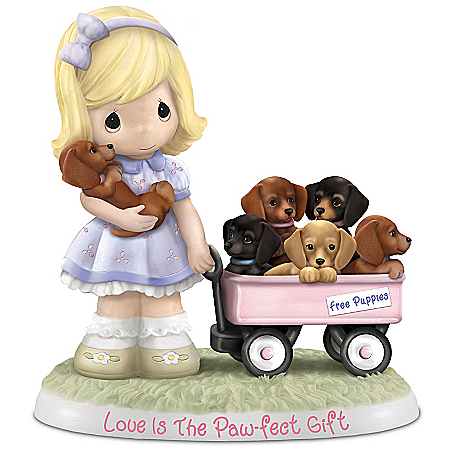 Precious Moments Love Is The Paw-fect Gift Figurine With Six Dachshunds