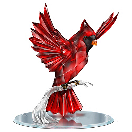 Beauty Of The Garnet Cardinal Songbird Figurine