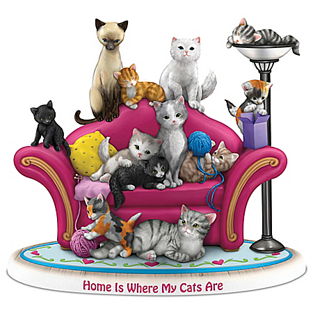 Blake Jensen Home Is Where My Cats Are Hand-Painted Figurine