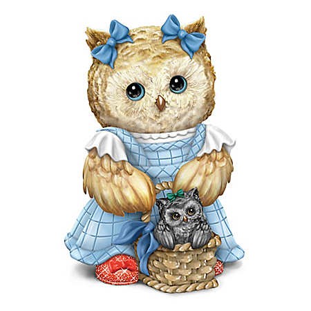 THE WIZARD OF OZ THERE'S NO PLACE LIKE HOME DOROTHY And TOTO Owl Figurine