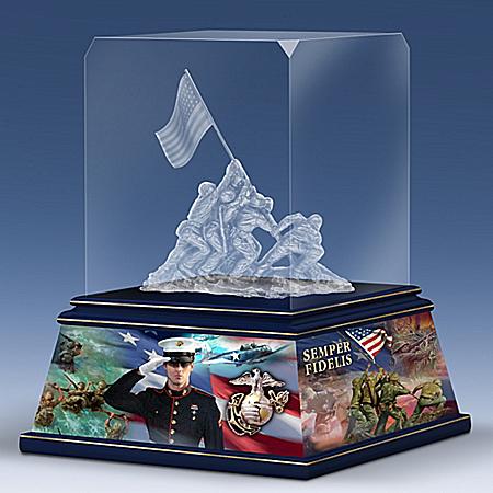 James Griffin Proud To Serve USMC Laser-Etched Glass Block Sculpture