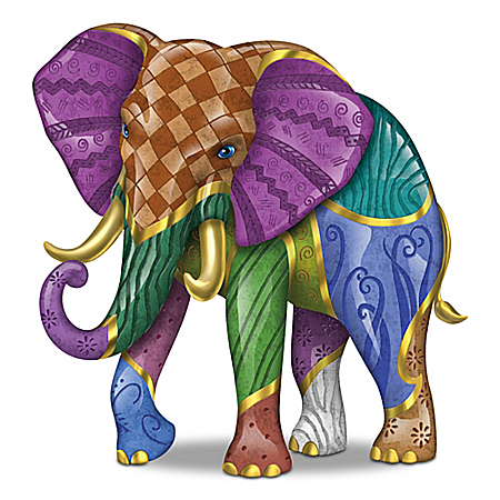 Keith Mallett Triumphant Tapestry Elephant Figurine