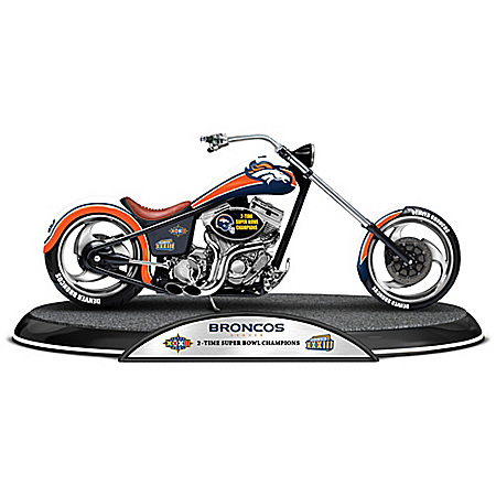 Super Bowl Champions Denver Broncos Driven To Victory Motorcycle Sculpture