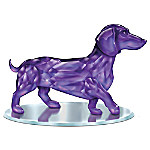 Radiance Of The Amethyst Dachshund Figurine With Mirror Base