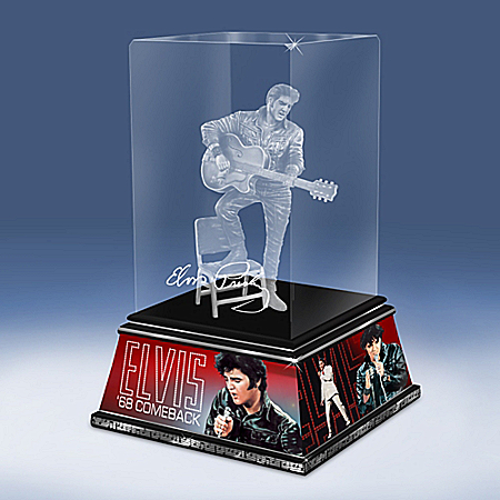 Elvis Presley King Of Rock And Roll Legend Glass Sculpture