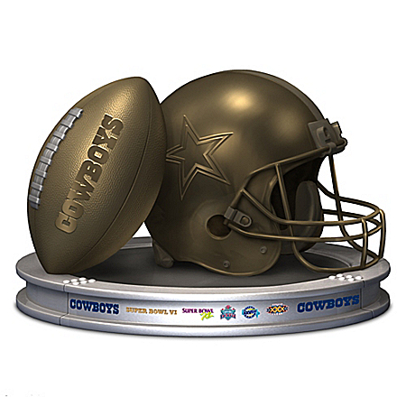 NFL-Licensed Dallas Cowboys Pride Bronzed Football And Helmet Sculpture