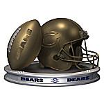 NFL-Licensed Chicago Bears Pride Bronzed Football And Helmet Sculpture