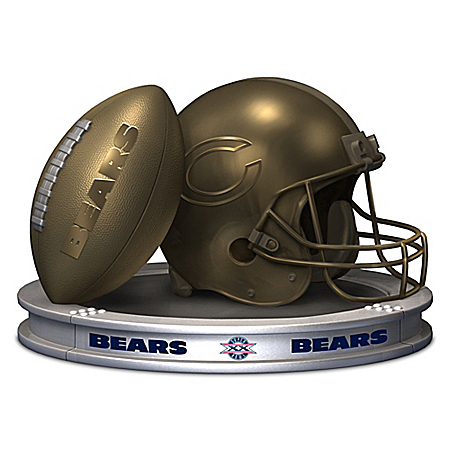 NFL-Licensed Chicago Bears Pride Bronzed Football And Helmet Sculpture