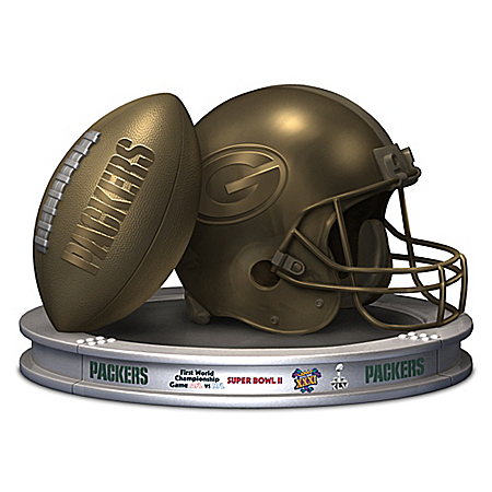 NFL Licensed Green Bay Packers Football and Helmet Sculpture by Blake Jensen