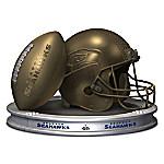 NFL-Licensed Seattle Seahawks Pride Bronzed Football And Helmet Sculpture