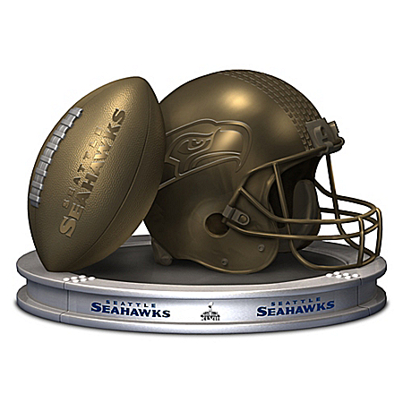NFL-Licensed Seattle Seahawks Pride Bronzed Football And Helmet Sculpture
